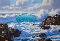 How to paint a dramatic seascape in 5 easy steps — samuel earp artist Simple Oil Painting, Acrylic Painting For Beginners, Painting Videos, Painting Lessons, Painting Tutorials, Painting Tips, Art Tutorials, Seascape Paintings, Easy Paintings