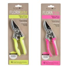 The NEW FloraBrite fluorescent Pocket Pruners by Burgon and Ball are endorsed by the RHS and will make losing tools in the garden a thing of the past. They will show up in any foliage and have reflective highlights that glow under torchlight.