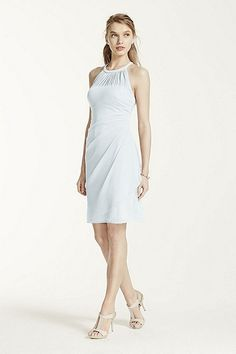 Sleeveless Short Mesh Dress with Side Cascade Style F15612 In Store & Online $119.00