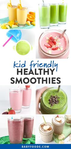 Smoothies are an amazing way to get more fruits and vegetables into your picky eater's diet! Smoothies are easy, fast, and delicious, and I've got 15 kid friendly recipes for you to try for breakfast, snacks, and on the go treats! These healthy smoothie recipes are great for your toddlers, kids, and baby led weaning babies. #smoothies #healthyrecipes #kidfriendly #healthysnacks #breakfast
