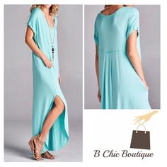 Mint Side Slit Maxi Dress Side slit maxi dress in mint color | rounded hemline | super soft material | loose fit B Chic Dresses Maxi