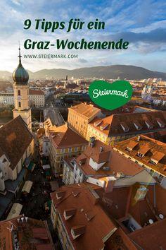 Graz: In der zweitgrößten Stadt Österreichs trfft historisch auf modern. Egal, zu welcher Jahreszeit, die steirische Landeshauptstadt bietet mit der ausgezeichneten Kulinarik, futuristischer Architektur und historischen Sehenswürdigkeiten für jeden das passende Erlebnis. Für einen herbstlichen Städtetrip in Graz haben wir einige abwechslungsreiche Tipps zusammengestellt, mit denen ein unvergesslicher Aufenthalt in der Kultur- und GenussHauptstadt der Steiermark garantiert ist. Indoor Christmas Decorations, Bucket Lists, Vienna, Austria, Places To Visit, Autumn, Explore, Adventure, Humor