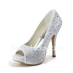 Wedding Shoes - $109.99 - Satin Stiletto Heel Peep Toe Platform Pumps Wedding Shoes With Rhinestone (047011800) http://jenjenhouse.com/Satin-Stiletto-Heel-Peep-Toe-Platform-Pumps-Wedding-Shoes-With-Rhinestone-047011800-g11800. Wondering if dye-able...