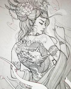 Geisha design for client Japanese Drawings, Japanese Tattoo Art, Japanese Tattoo Designs, Japanese Art, Japanese Geisha, Japanese Kimono, Samurai Tattoo, Samurai Art, Tatoo Art