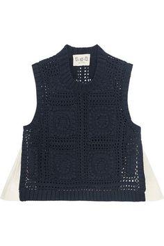 SEA - Poplin-paneled Crocheted Cotton Top - Navy - medium