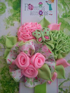 Ribbon Projects, Ribbon Crafts, Diy Hair Bows, Bow Hair Clips, Floral Headbands, Baby Girl Headbands, Felt Flowers, Fabric Flowers, Baby Headband Tutorial