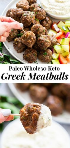 These easy greek meatballs are perfectly flavorful and delicious dipped in a dairy-free paleo Tzatziki sauce! Paleo, Whole30, and keto friendly.