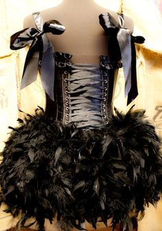 TWILIGHT Circus Burlesque Costume Corset Black Swan by olgaitaly, $170.00