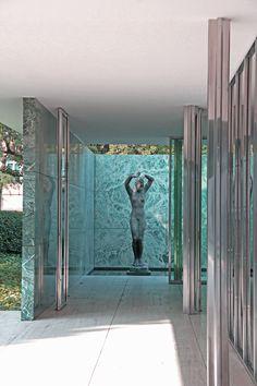Alba the sculpture by Kolbe inside Mies' famous Barcelona Pavilion 1929.