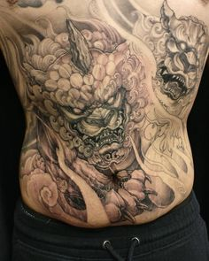 A bit more on this double Foodog stomach piece. Japanese Tattoo Art, Japanese Tattoo Designs, Japanese Sleeve Tattoos, Forarm Tattoos, Skull Tattoos, Body Art Tattoos, Irezumi Tattoos, Foo Dog Tattoo Design, Fu Dog