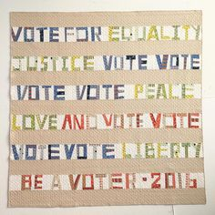 Denyse Schmidt's Election Quilt 2016, made with her Proverbial Quilt pattern and Stonington fabric | Denyse pieced the letters by hand