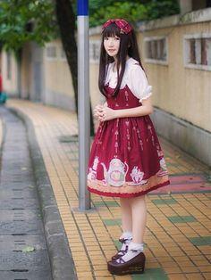 Kawaii Cute Lolita Red Wine Tea Cup Bunny Alice In Wonderland