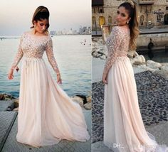 Chiffon Prom Dresses Long Iullsion Bodice Sexy Design Beading Sequin Bling Pearls Elegant Long Sleeve Bateau Neck Custom Made Party Gown Wanelo Prom Dresses White Prom Dresses Under 100 From Lovemydress, $89.91| Dhgate.Com
