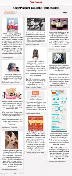 "Infographic about ""Ideas for marketing your products or business using Pinterest.com"""