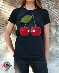 Cherry Cotton Painted T-shirt / Organic Cotton Tank Top by Cotton9