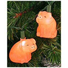 pig Christmas lights. Used to hang these with Christmas bows as part of Christmas decorations.