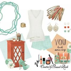 A bit of mint with a touch of coral ... Summer style with Premier Designs! #pdstyle