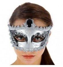 Máscara veneciana acabado en gris y plata