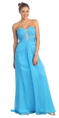 CLEARANCE - Sweetheart Neck Turquoise Prom Gown Long Chiffon/Satin Rhinestones (Size 2XL)