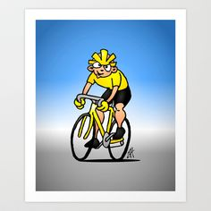 Cyclist - Cycling Art Print by Cardvibes - $17.68 #Society6 #Cardvibes #Tekenaartje #sports