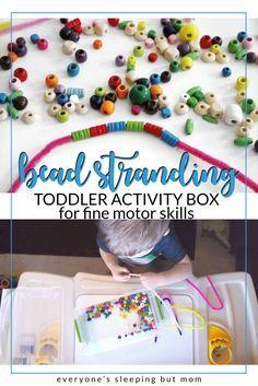 toddler bead strand activity box to develop fine motor skills - everyones sleeping but mom
