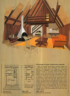 The images in this set are from 'Great Ideas for Second Homes: A Portfolio of 20 Distinguished New Designs in Plywood, published by the American Plywood Association in 1969. These plans were meant to be ordered from the Home Building Plan Services of Portland, Oregon. The fantastic illustrative paintings were done by Lorenzo Ghiglieri