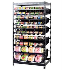 Rotation shelving can hold up to 420 cans!  I will never have cans that are expired again!!