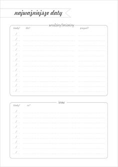DIY Planer - organizer do wydrukowania Calendar Organization, Diy Organization, Free Prints, Free Printables, Back To School, Diy And Crafts, Bullet Journal, Notes, How To Plan