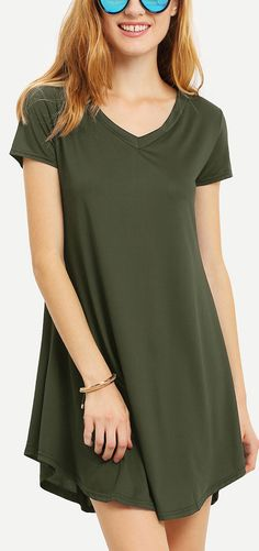 Optimize your comfort and beauty with this Olive Green V Neck Swing Tee Dress. The v neckline design makes you modest! Own it now!