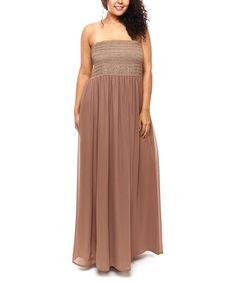 Look at this #zulilyfind! Mocha Shirred Strapless Maxi Dress - Plus #zulilyfinds