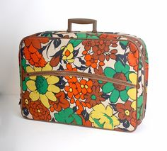 Vintage Flowered Suitcase