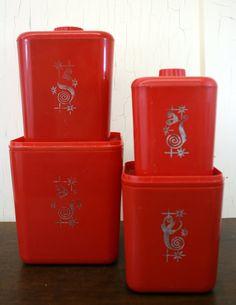 Vintage Red Lustro Ware Elegante Plastic by LittleRedHenVINTAGE