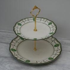 Vintage Cake Stand, Green Matching Plates, Two Tier Cake Stand by TheVintageTeaShoppe on Etsy Vintage Cake Plates, Vintage Cake Stands, Green Plates, Large Plates, Vintage Tea, Vintage Green, Two Tier Cake, Green Pattern, Tea Pots