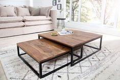 Design Couchtisch 2er Set BIG FUSION Sheesham stone finish Eisen schwarz matt