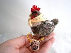 needle felted hen