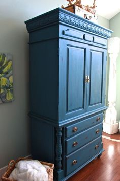 Chalk Painted Armoire Makeover Aubusson Blue.  blue Painted furniture.– Aubusson Blue. Painted furniture.