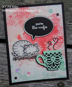 KT Fit Kitty: Coffee Lovers' Blog Hop, Watercolour Blog Hop, and Newton's Nook Inky Paws