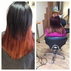 Taking black colour out of hair was difficult. Going from ombre black - orange to copper/red/black hair