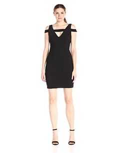 Adrianna Papell Womens Cold Shoulder Dress Black 12 ** Check out the image by visiting the link.