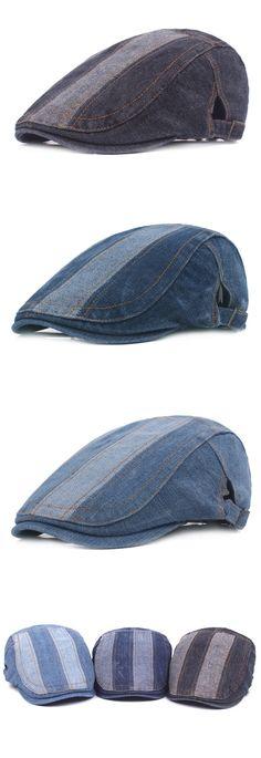 5b8f2f5f53ad2b [$ 8.10] Retro Washed Denim Beret Cap Casual Travel Sunscreen Forward Hat  For Mens Women. Edward James · Kangol's · Authentic Kangol Transmission Stripe  507 ...
