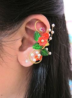 Red Wrap Around Flowers And Bird Ear Cuff Woodland Gold Wings Free Elegant Feminine Bling Nature. $53.00, via Etsy.