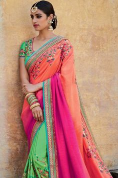 ff2e463440 Buy latest sarees online, Shaded Peach Pink And Green jacquard diwali saree,  u neck