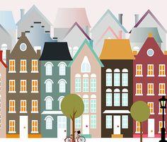 ilustracion Amsterdam lamina Amsterdam Casas por Ilustracionymas