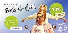 Pour préparer vos ponts du mois de Mai et vivre pleinement ce printemps qui s'annonce des plus délicieux, nous vous proposons 10% de remises sur les univers scooter 2 et 3 roues du site, Vespa, Piaggio, Gilera. http://www.atelierdeuxroues.com/promotions