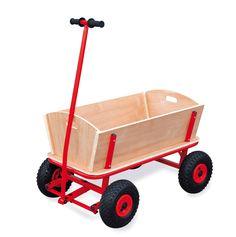 Deze grote bolderwagen draagt alles wat families en wandelaars over grote afstanden moeten vervoeren. Stevige uitvoering van metaal en hout met luchtbanden.