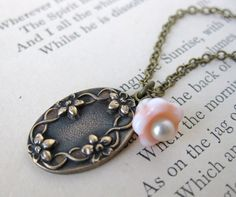 Flowers in relief, Vintage Charm Necklace Peach Pearl Antiqued by BumbershootDesigns, $23.50