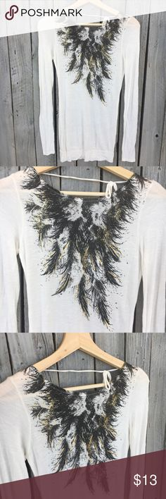 "Miley Cyrus Max Azria White Long Sheet Feather Miley Cyrus Max Azria • Long length 27"" • Long sleeve • Feather gold black graphic on front • Tie string detail at the neck on back • Sz XS Miley Cyrus & Max Azria Tops Tees - Long Sleeve"
