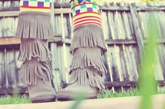 fringe boots and leggings <3
