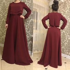 Simple maroon maxi dress, modest, floor length dress, vintage Feminine, hijab - New Dress Hijab Evening Dress, Hijab Dress Party, Hijab Style Dress, Modest Fashion Hijab, Abaya Fashion, Muslim Fashion, Dress Outfits, Fashion Dresses, Trendy Dresses