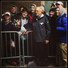 Coach Brown visits students as they wait in line to grab the hottest tickets on campus.
